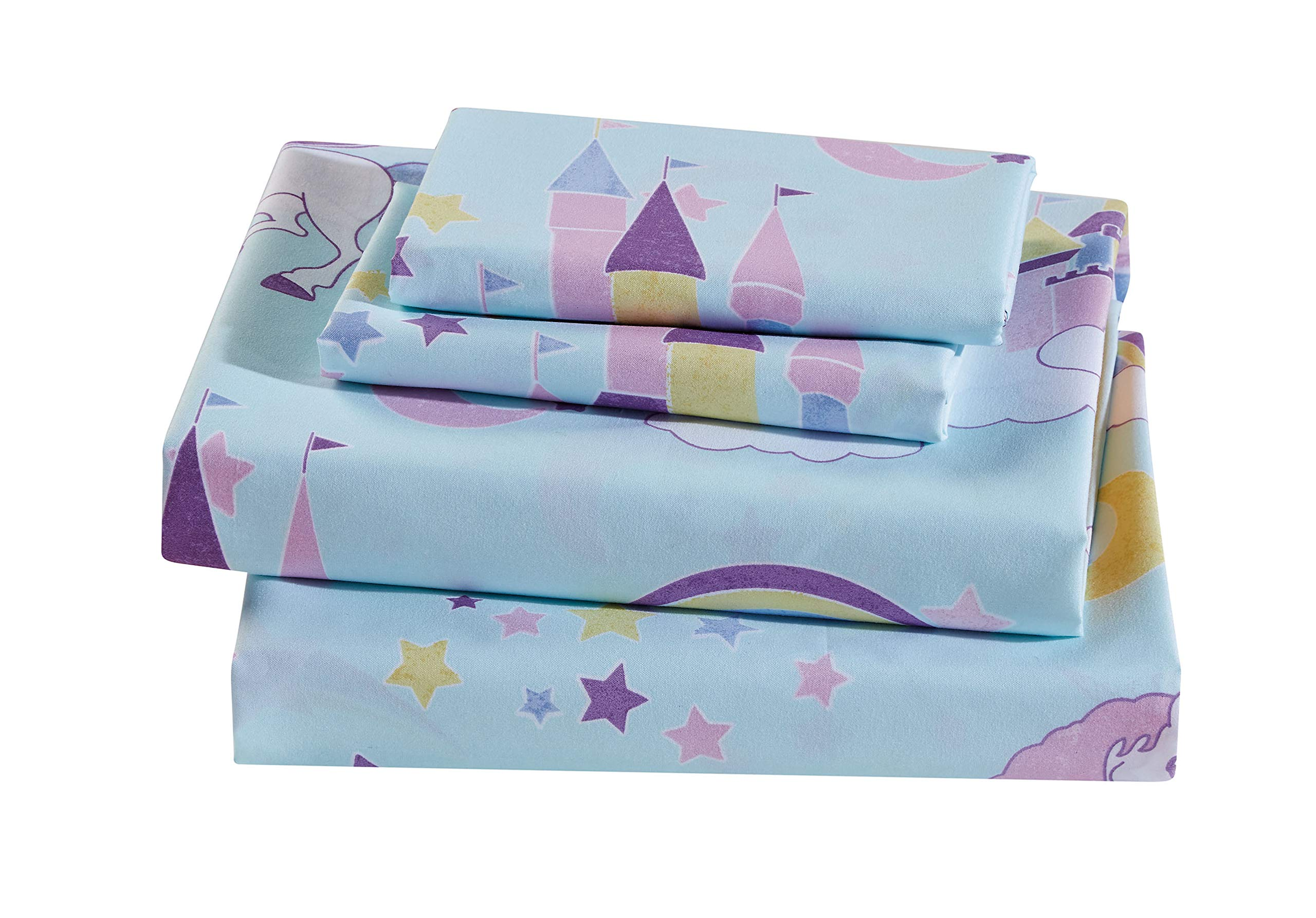 Luxury Home Collection Kids Sheet Set Unicorn Castle Rainbow Clouds Moon Shining Stars Blue Pink Purple Yellow (Twin Sheet)