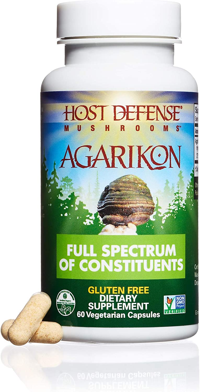 Host Defense – Agarikon Mushroom Capsules, Nutrient Rich Support for Health and Wellbeing, Non-GMO, Vegan, Organic, 60 Count