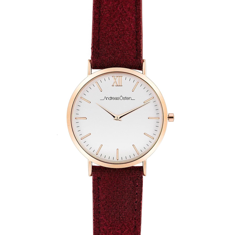 Andreas Osten (Oste) Damen Gold LÜnette rot Tweed Strap Armbanduhr A0–122