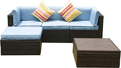 GOJOOASIS Patio Furniture Outdoor Wicker Sectional Conversation Set 5PCS B