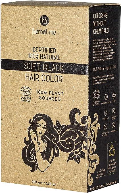 Herbal Me – Color de cabello de henna negro suave, 7.05 oz, certificado 100% natural por Ecocert (Francia). Aprobado por veganos y halales, cero ...
