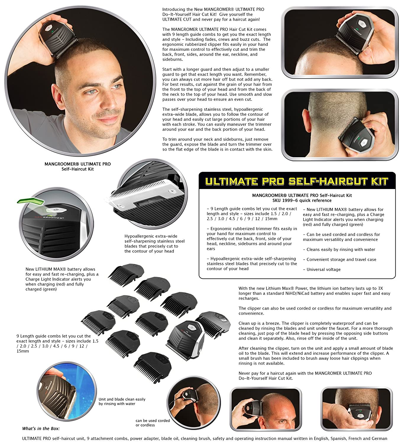 Do it yourself haircut kit hair mangroomer ultimate pro self haircut kit with lithium max power solutioingenieria Image collections
