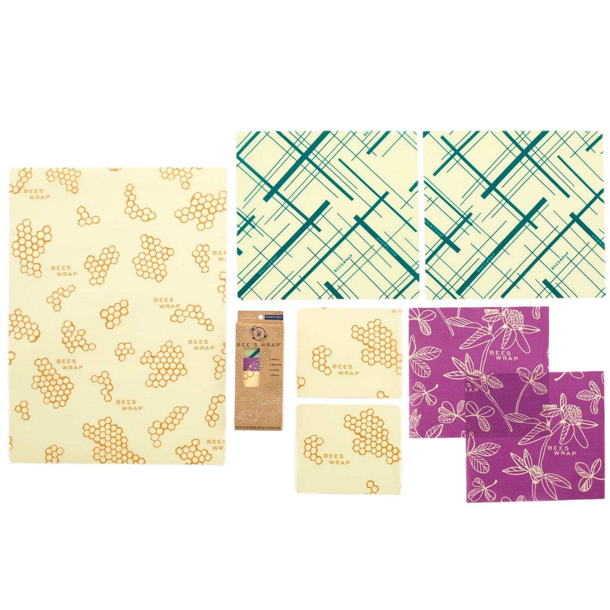 Bee's Wrap Variety Pack, Eco Friendly Reusable Food Wraps, Sustainable Plastic Free Food Storage - 2 Small, 2 Medium, 2 Large, 1 Bread