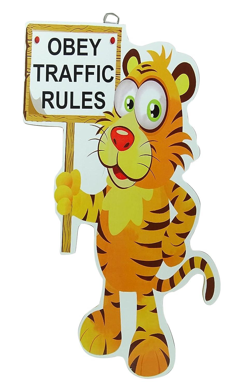 Tinny Wooden Obey Traffic Rules Moral Zitat Geschrieben dekorative Wand Cout - 17 x 11 Zoll