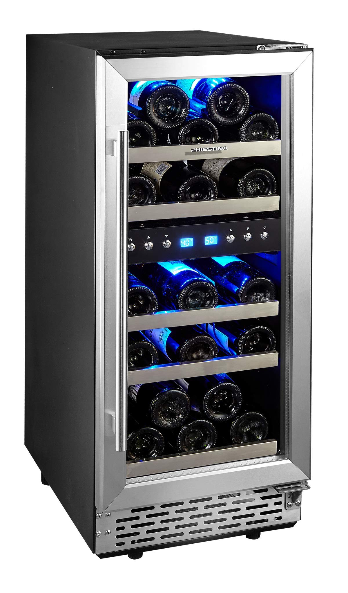 Phiestina 15 Inch Dual Zone Wine Cooler Refrigerator - 29 Bottle Built-in or Free-standing Frost Free Compressor Wine Refrigerator for White and Red Wines with Digital Memory Temperature Control by Phiestina