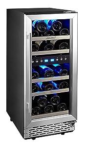 Phiestina 29 Bottle Wine Cooler 15'' Built-in or Free-standing Compressor Cooling Refrigerator. Stainless Steel & Glass Door Wine Showcase