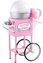 Nostalgia CCM600 Vintage Commercial Cotton Candy Cart, 50-Inches Tall, Pink