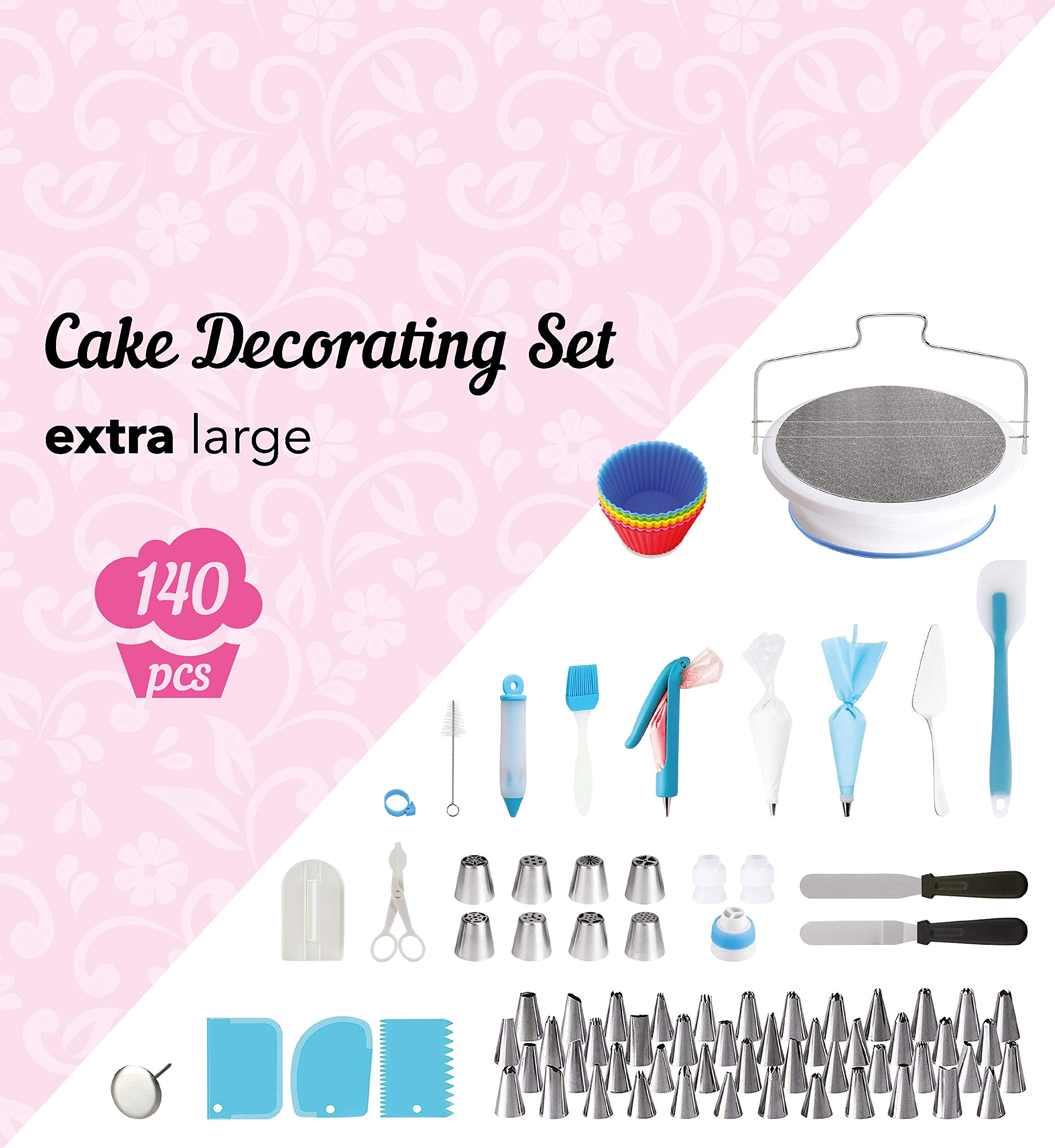 140-Piece Cake Decorating Kit - Silicone and Stainless Steel Baking Supplies and Dessert Making Tools - Bakeware Set with Turntable, Spatula, Russian Nozzles, Pastry Bags, Couplers, Scrapers