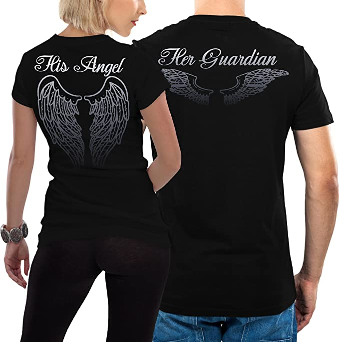 Pack 2 Camisetas para parejas con Diseño Angel and Guardian