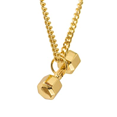Amazon 24k gold plated dumbbell necklace seven sided pendant 24k gold plated dumbbell necklace seven sided pendant fitness jewelry bodybuilding jewelry fitness gift aloadofball Images