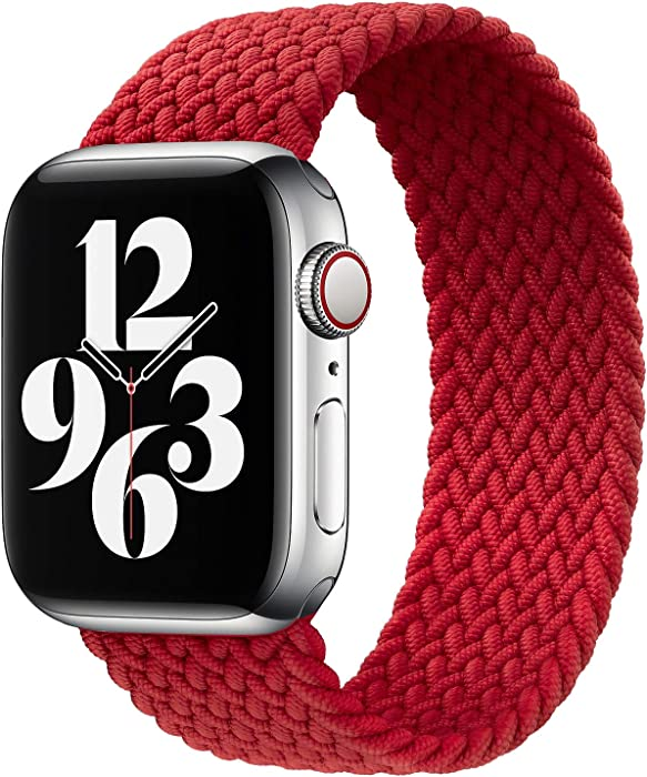 Watchbands Compatible for Apple Watch SE Series 6 Bands, Apple Watch 42mm 44mm Woven Solo Loop Braided Strap iwatch Compatible with 5/4/3/2/1 (Red, 42mm/44mm,8(150mm))