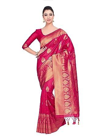 3d6cc607443647 MIMOSA Women's Art Silk Saree Kanjivaram Style with Blouse Light Weight  (139,pink,free Size): Amazon.in: Clothing & Accessories