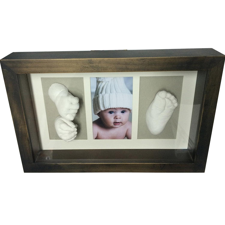 Grauer Hintergrund Rahmen f/ür Foto und Baby-Fu/ßabdruck in 3D
