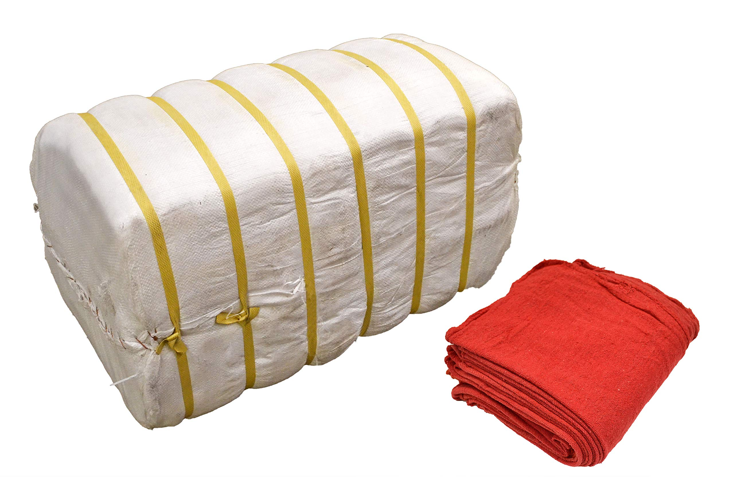 Tuf-Clean 21818 Shop Towels, 100% Cotton, Red, Bale of 2,500
