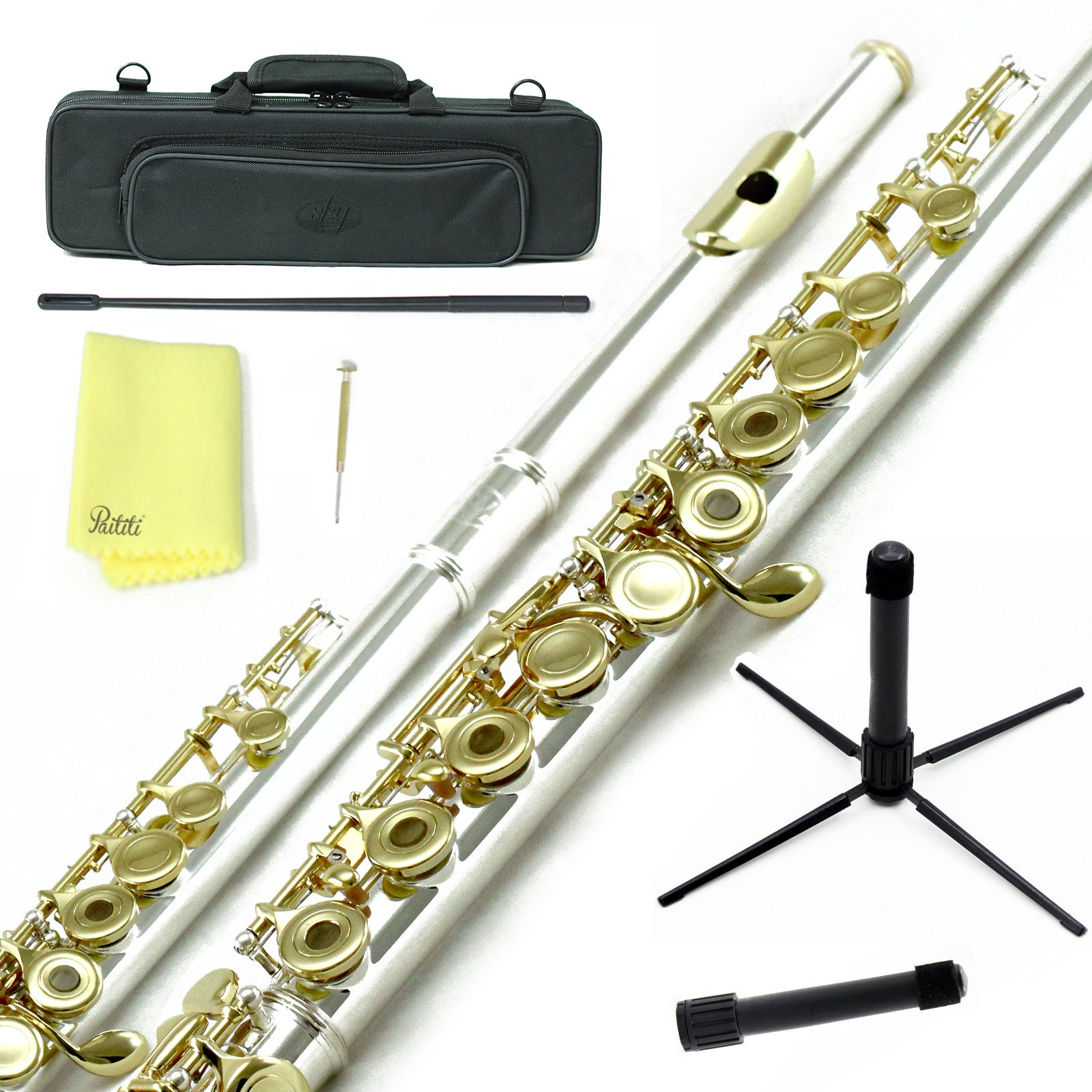 Sky C Flute with Lightweight Case, Cleaning Rod, Cloth, Joint Grease and Screw Driver - Silver/Gold Open Hole