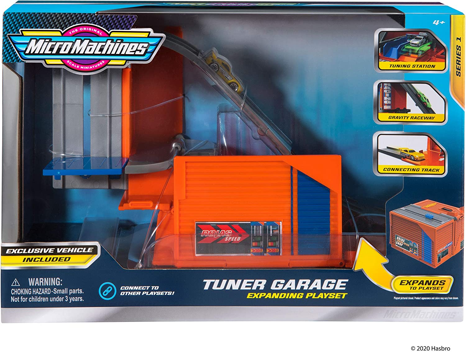 Car Tuner Garage Station Multi Collect Them All Expandable and Connectable to Other MM Sets Includes One Exclusive Vehicle Micro Machines Core Playset