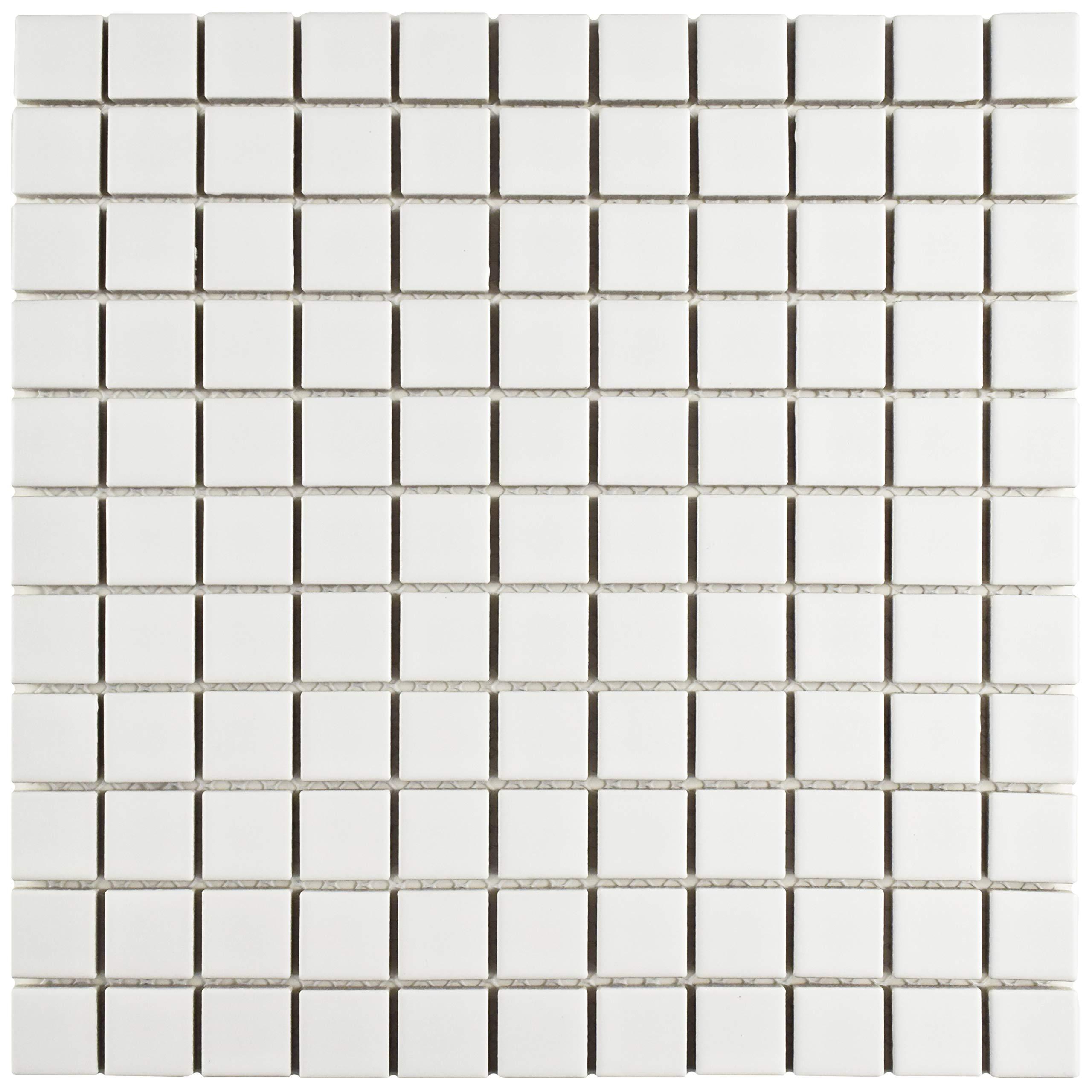 SomerTile FXLM1SMW Retro Square Porcelain Floor and Wall x 11-3/4'', Matte White Tile, 12'' x 12'', 10 Piece