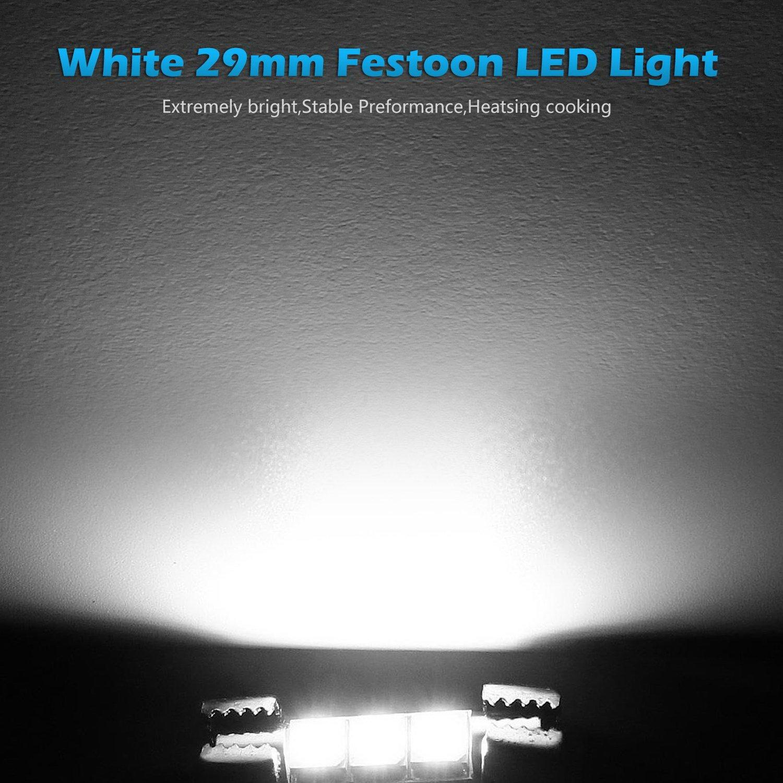 Partsam 4pcs White 29mm Festoon Led Light Interior 2005 Gmc Envoy Fuse Box Fuses Licens Plate Back Ligth Vanity Mirror Sun Visor Lamps Automotive