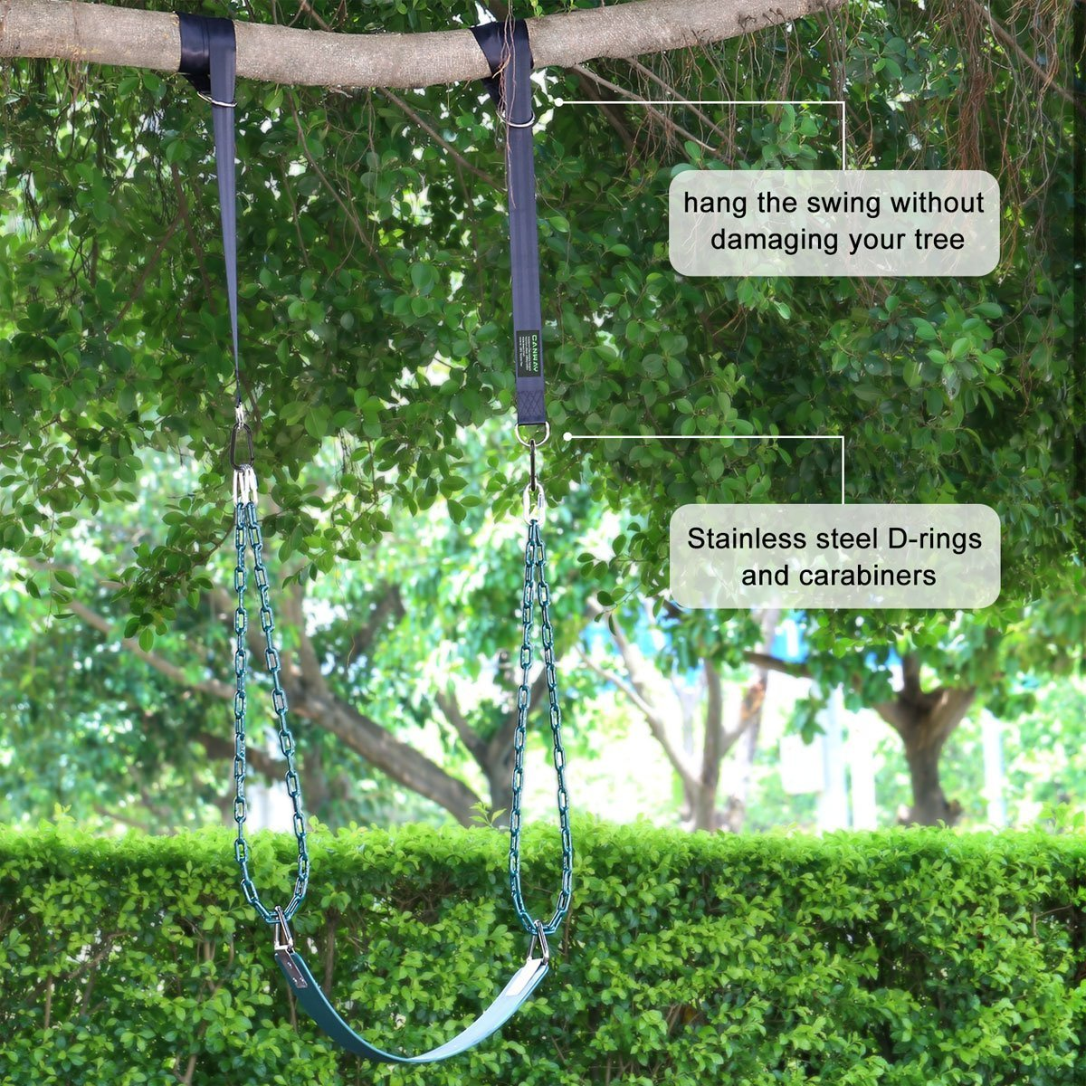 - Camping Hammock Accessories 5ft CANWAY Set of 2 Tree Swing Straps Hanging Kit Holds Max 2200 LB with Two Heavy Duty Carabiners Stainless Steel