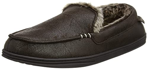 Suedette Moccasin Slippers, Chaussons Homme, Marron (Brown), 46/47 EUIsotoner