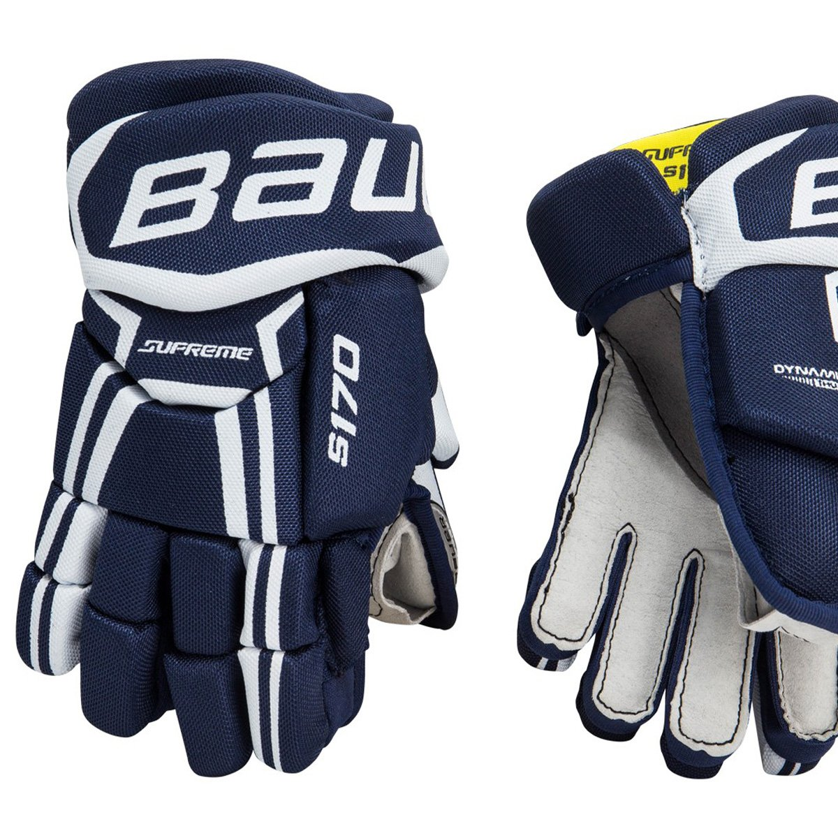 "Bauer Supreme S170 Youth Ice Hockey Gloves, 2-Piece Fingers, 8"" or 9"", Navy Blue"