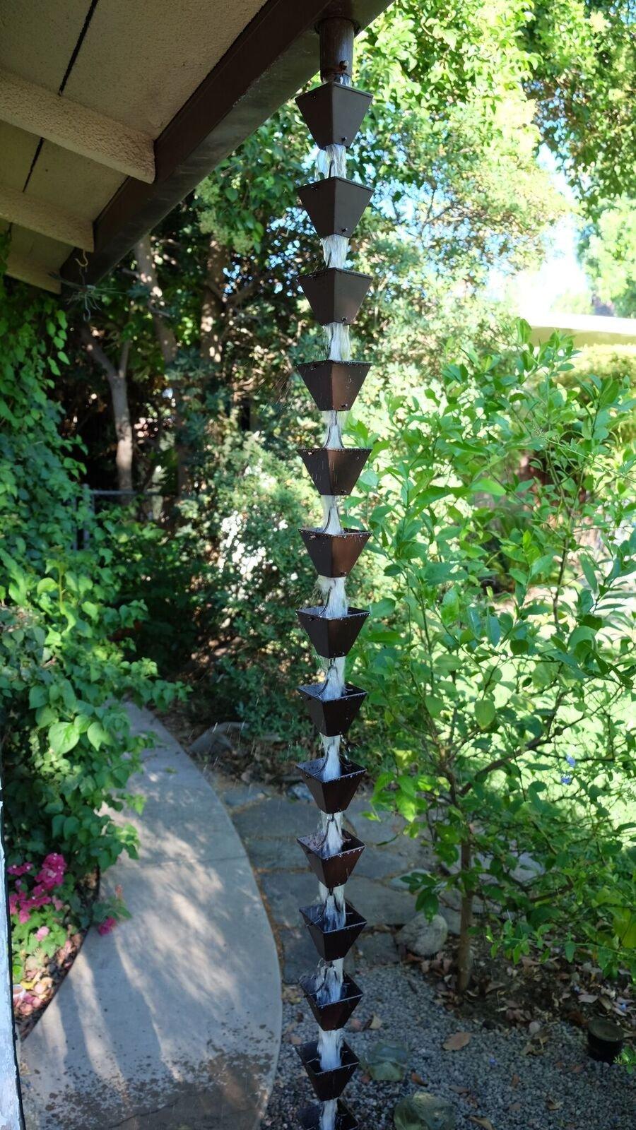 Rainchains, Inc. Medium Bronze Aluminum Square Cups RAIN Chain with Installation KIT (8.5 Feet)