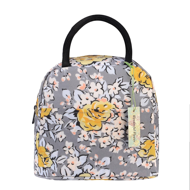 wonderful flower Insulated Lunch Box Cooler Bag lunch bag flower (G05GrayYellow)