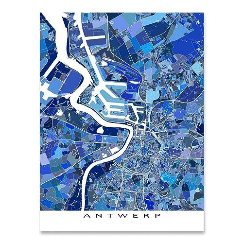 Antwerp Map Europe.Amazon Com Antwerp Map Print Belgium Europe City Street Art Blue