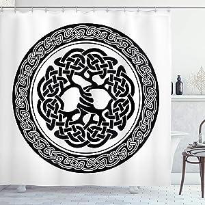 Ambesonne Celtic Shower Curtain, Native Celtic Tree of Life Ireland Early Renaissance Modern Design, Cloth Fabric Bathroom Decor Set with Hooks, 75