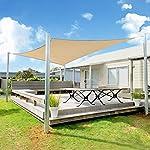 SUNLAX Sun Shade Sail, 12'x16' Sand Rectangle Outdoor Awning Shade Cover