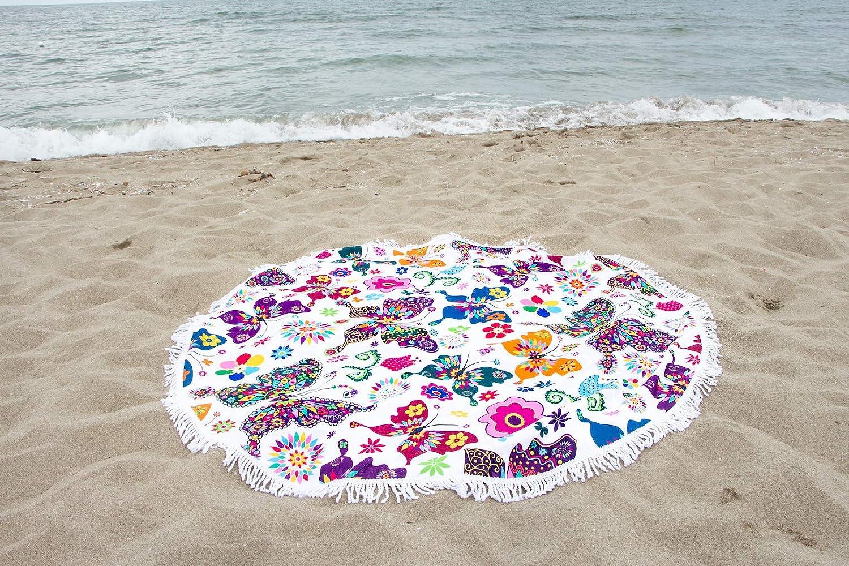 ecofriendly Toalla playa redondo 100/% Microfibra con flecos Made in Italy