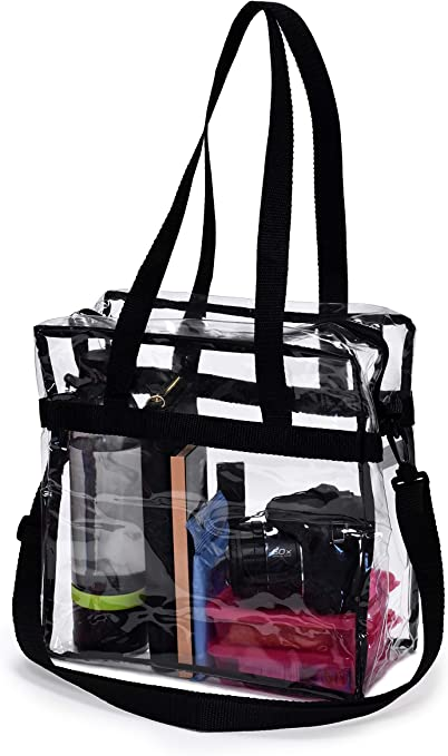 School Sports Games 3 Pieces Clear Crossbody Purse Bag Clear Handbag Stadium Approved Clear Shoulder Tote Bag with Adjustable Shoulder Strap and Wrist Strap for Work