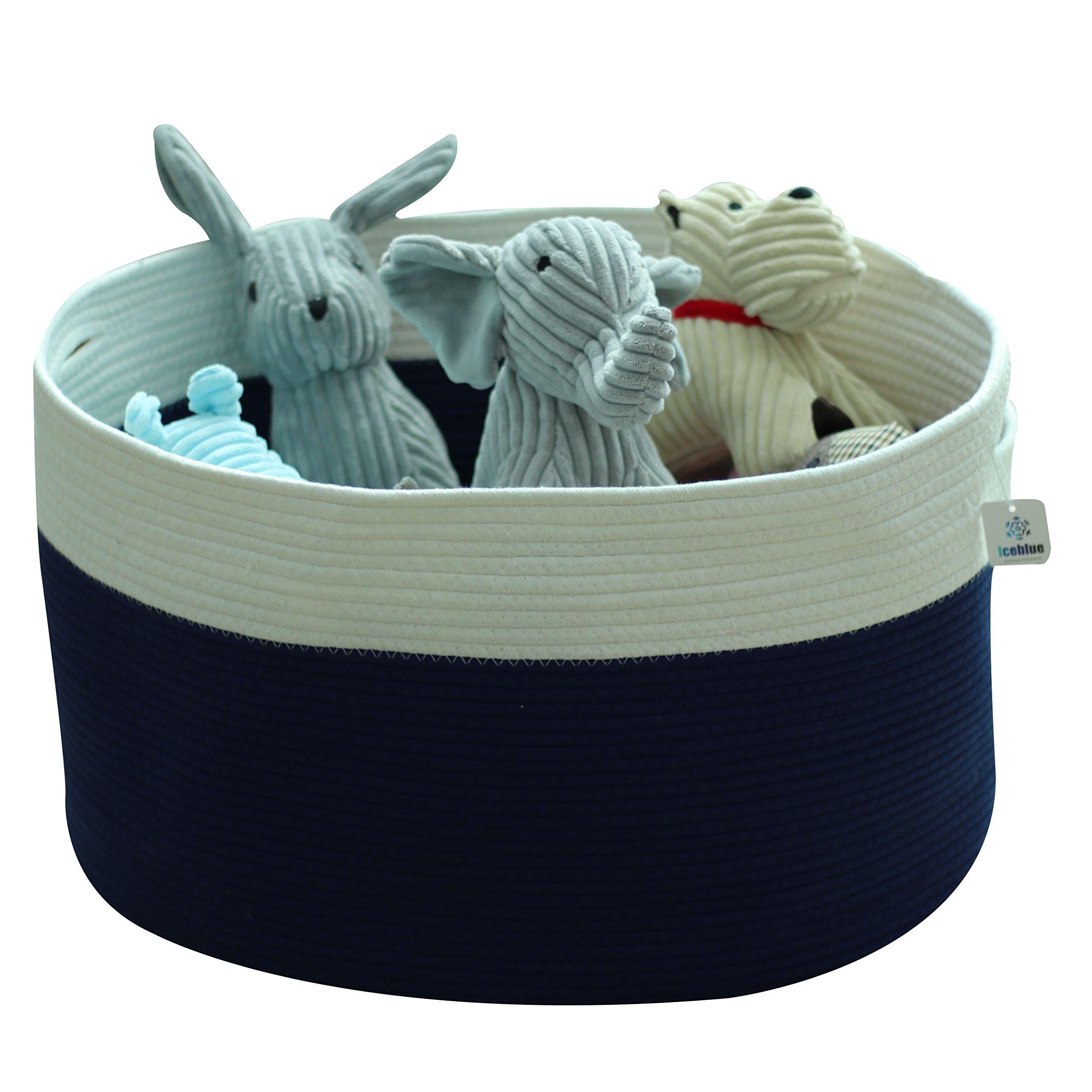 Iceblue Large Storage Bucket Cotton Rope Laundry Storage Toy Storage(Royal Blue)