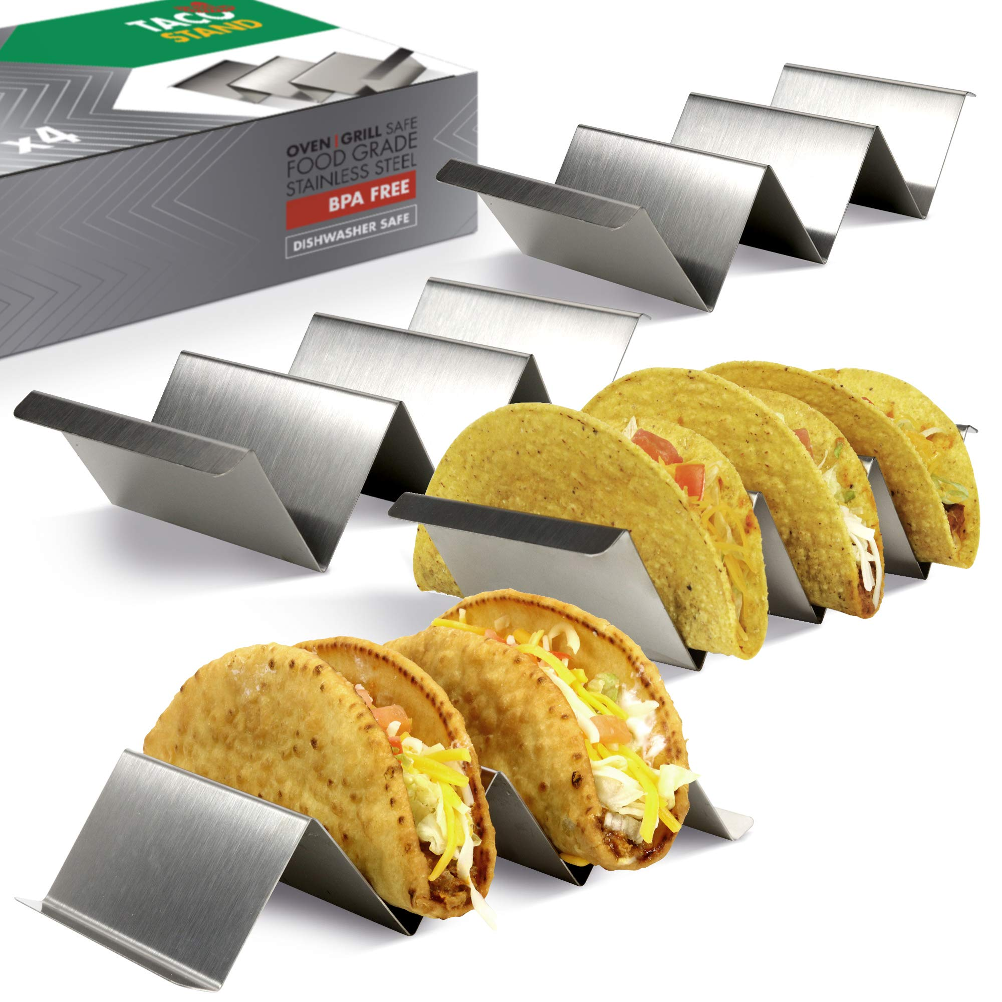 Taco Holder Set of 4 - Stainless Steel Taco Stand - Dishwasher & Oven Save - Easy To Fill Taco Rack And Perfect To Keep Your Delicious Tacos by KIBAGA