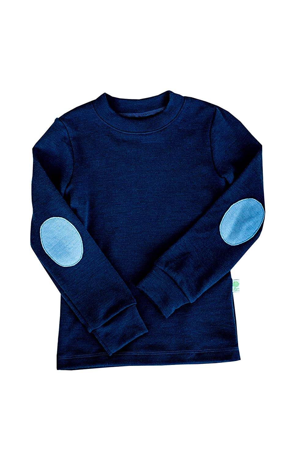for Girls and Boys GREEN ROSE Kids Long Sleeve T-Shirts with Patches 100/% Merino Wool