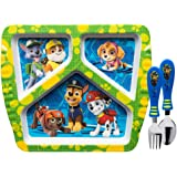 Zak Designs Paw Patrol Divided Plate, Fork and Spoon Set, Paw Patrol, 2 piece set
