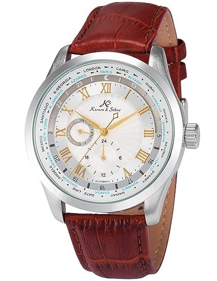 KS Relojes para Hombre Mecánico Automático con Correa de Cuero Marrón KS304