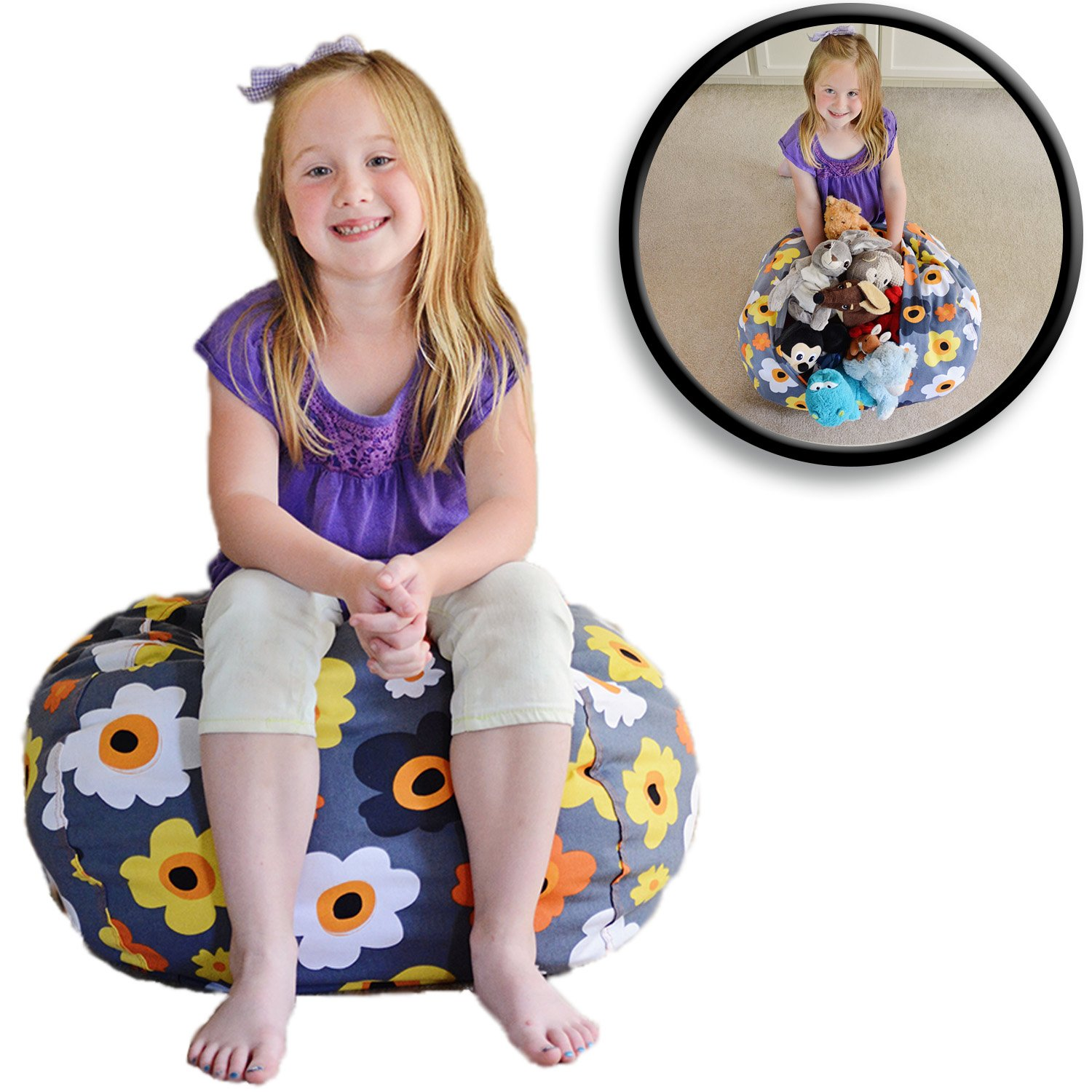 """Stuffed Animal Storage Bean Bag Chair - Premium Cotton Canvas - Clean Up The Room And Put Those Critters To Work For You! - By Creative Qt (27"""", Grey Floral)"""