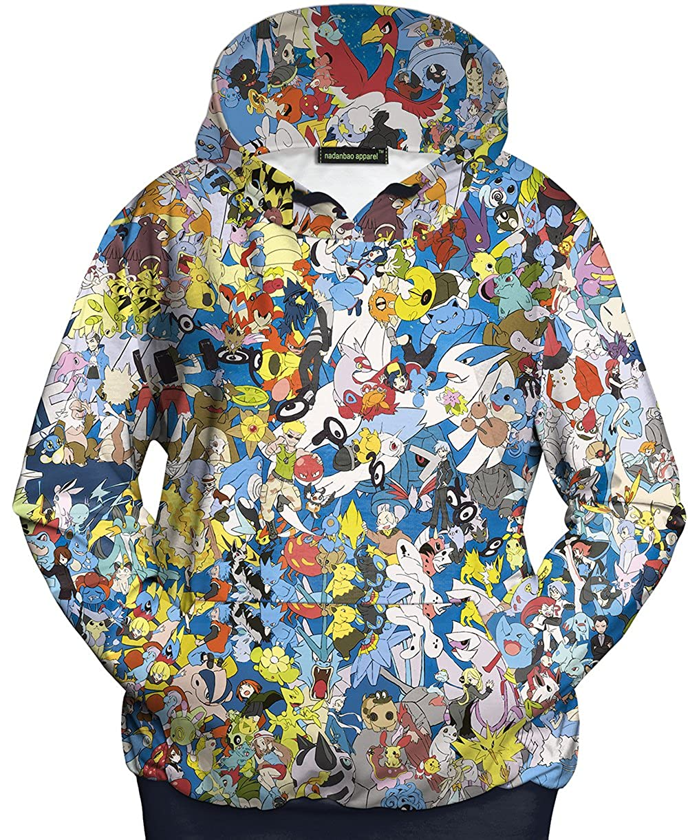 Charmley Unisex 3D Halloween Sweatshirt Cute Pokemon Cartoon Printing Pullover Hoodies