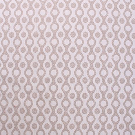 Beige Palace Wave Circle Pattern 70s Style Woven Textured