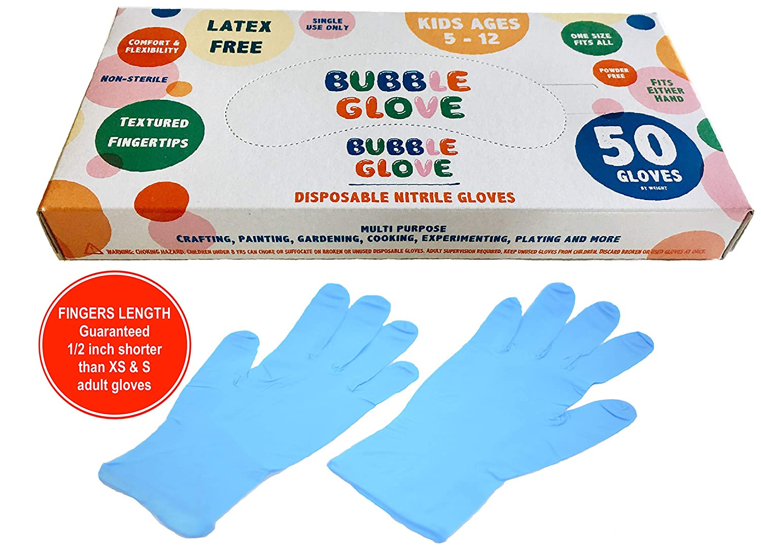 Bubble Glove: Best Kids Nitrile Gloves (latex free, powder free, odorless) – Prevent Skin Allergy or Irritation for Multipurpose Use (50 counts, Blue)