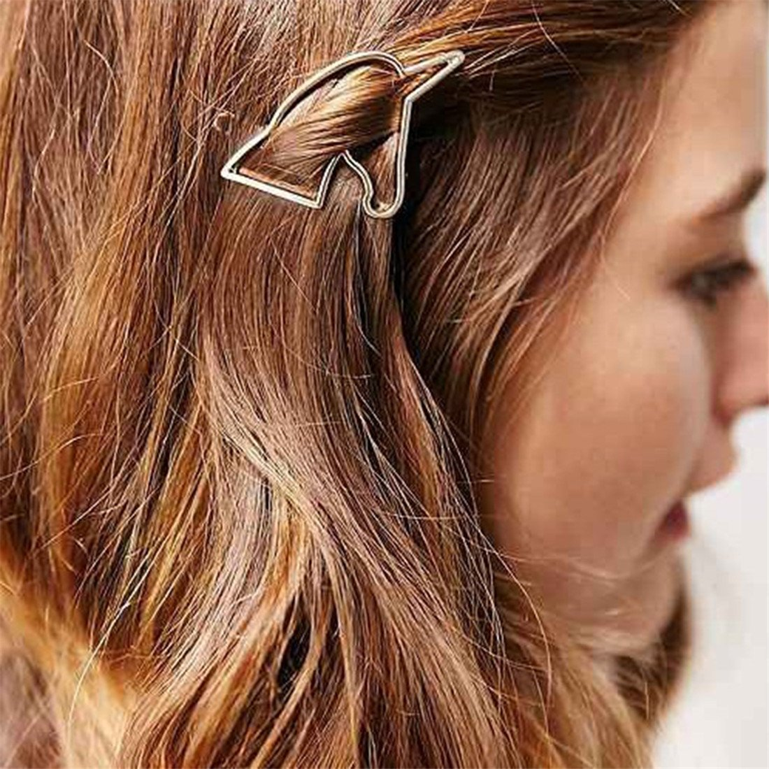 VWH 1pcs Women Gold Unicorn Hollow Triangle Geometric Metal Hairpin Hair Clip Clamps Accessories Barrettes
