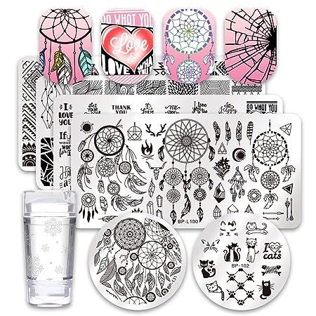 Born Pretty 6pcs Nail Art Stamping Image Placas Set Atrapasueños tema gato hojas Manicura Herramienta de impresión con 1pc Jelly estampador y rascador