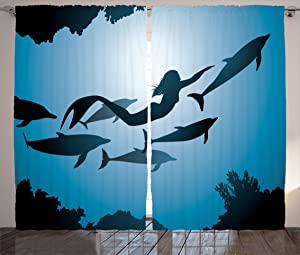 Ambesonne Underwater Curtains, The Mermaid and Dolphins Underwater View Travel Diving Fin Sea Life, Living Room Bedroom Window Drapes 2 Panel Set, 108 W X 90 L Inches, Blue Black Petrol Blue