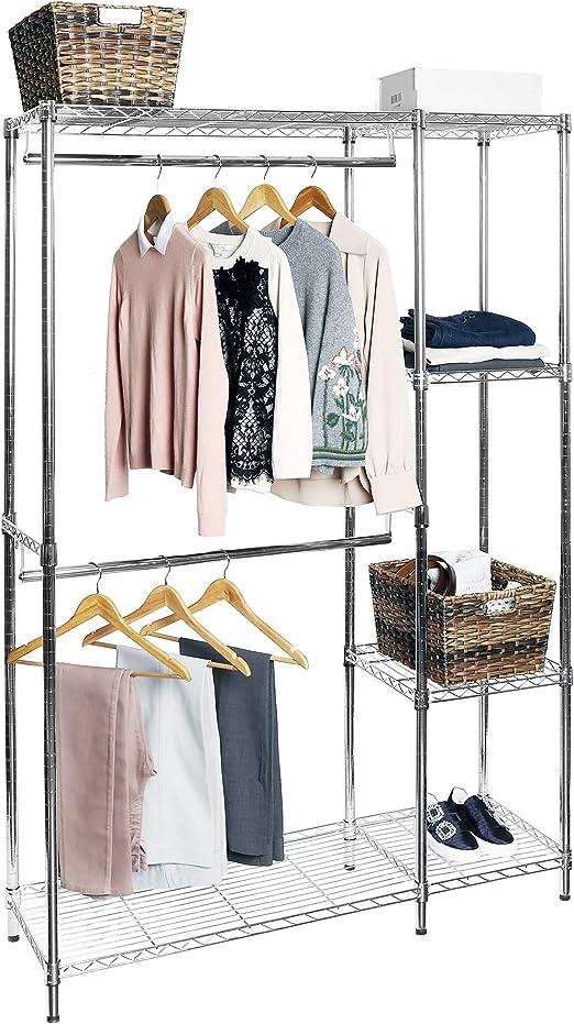 Adjustable Closet Organizer Free Standing Clothes Hanger Rack Shelves Heavy Duty