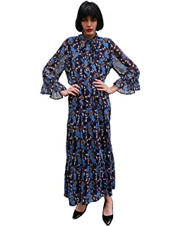 7bd1389d9c CY BOUTIQUE Blue floral Daisy print frilled sleeves maxi dress Casual  holiday