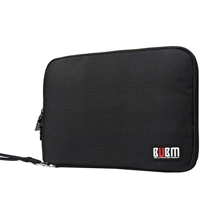 "Bubm Double Layer Electronics Organizer/Travel Gadget Bag For Cables,Memory Cards,Flash Hard Drive And More,Fit For I Pad Or Tablet(Up To 9.7"")  Large, Black by Bubm"