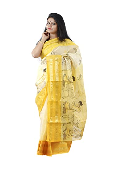 DIPALI ENTERPRISE Sakuntala Tant Made Self Designed Saree For Women s-Off  White And Yellow- 67f9769fd3