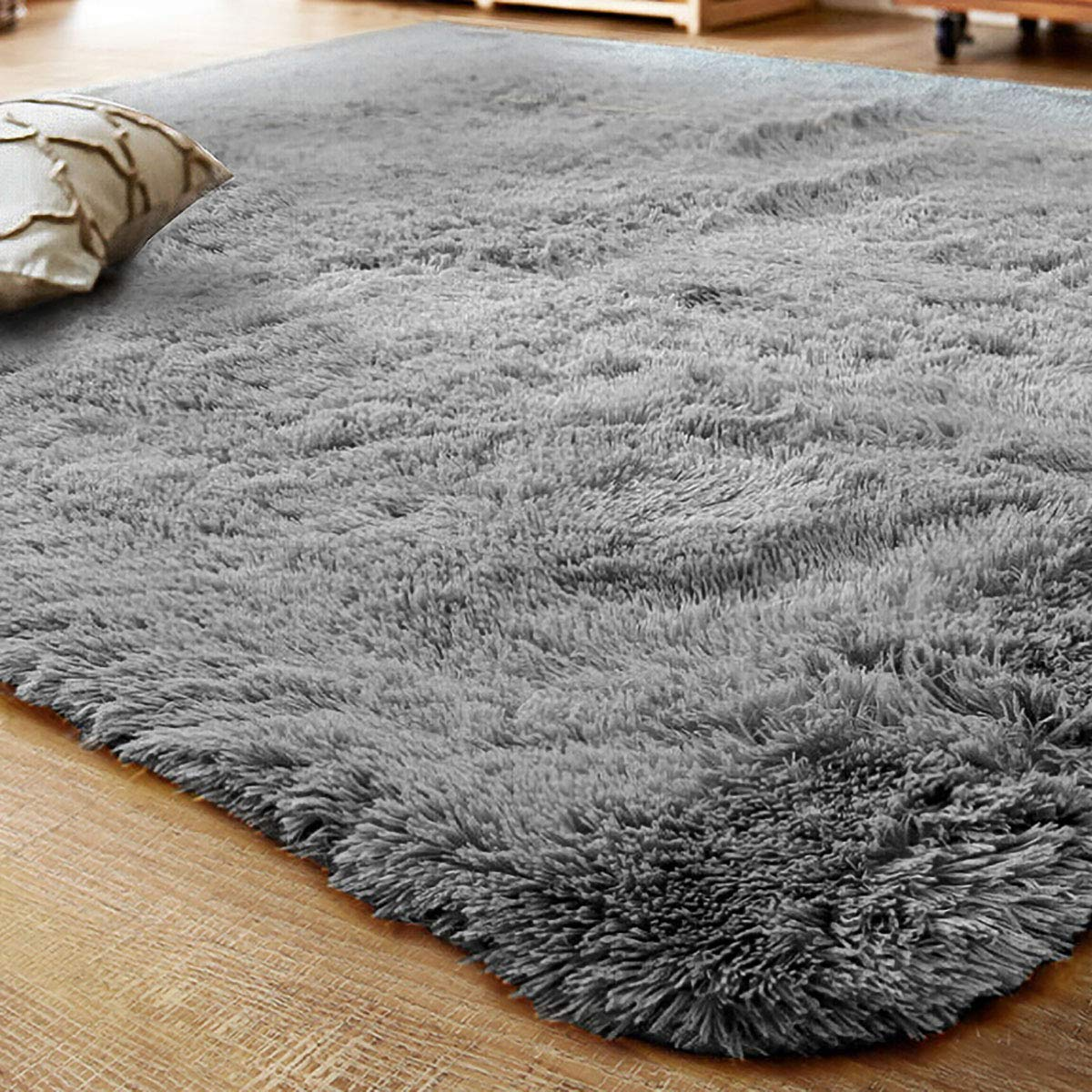 LOCHAS Ultra Soft Indoor Area Rug Thick Shaggy Bedroom Living Room Carpets for Kids Nursery Room, 5.3 x 7.5 Feet Grey