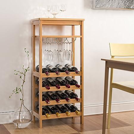Homfa Botellero para 16 Botellas de Vino Botellero de Bambú con Portavaso de 4 Niveles 47x29x100cm